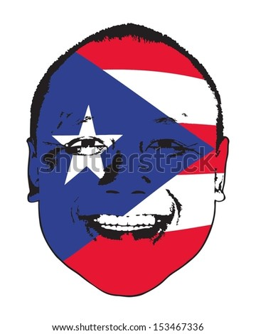 A Puerto Rico flag on a face, isolated against white.  - stock vector