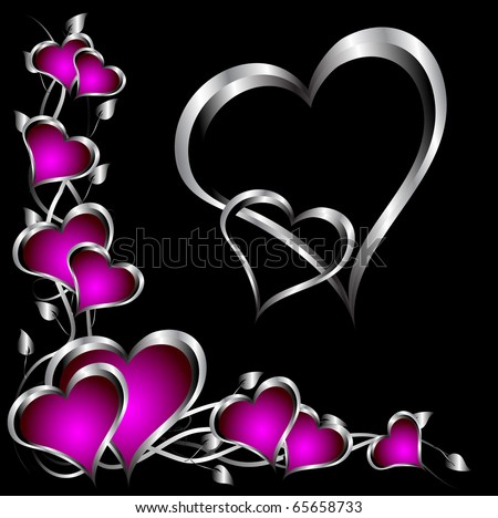 A purple hearts Valentines Day Background with silver hearts and flowers on a black background - stock vector