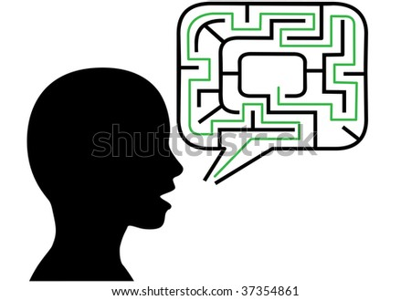 A puzzled person silhouette talks in maze puzzling speech bubble solution. - stock vector