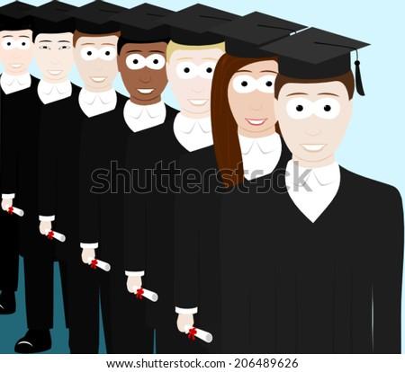 A queue of happy graduates - stock vector