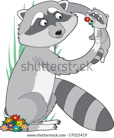 A raccoon holding it's baby in the air. She is shaped like the letter R