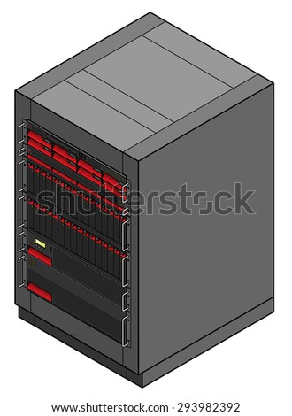 A rack mount cabinet containing different server components.  - stock vector