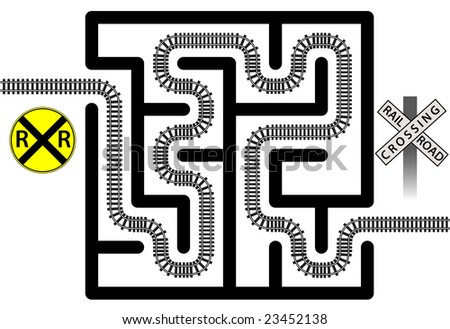 A railroad track winds through a maze solving the puzzle - crossing signs included for transporation safety. - stock vector