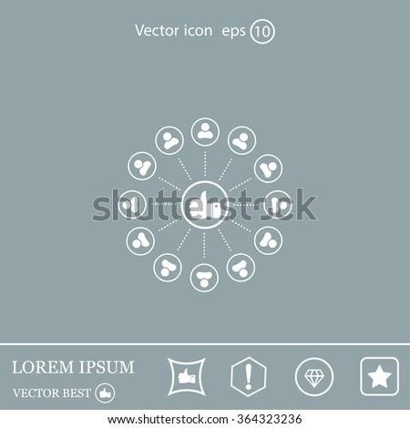 a raised thumb and the people around. vector icon - stock vector