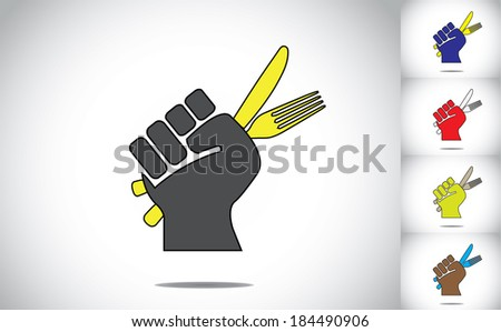 Hand Holding Fork Drawing a Ready Hand Holding Fork And