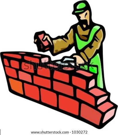 A Ready To Cut Vector Illustration Of Construction Worker Building Brick