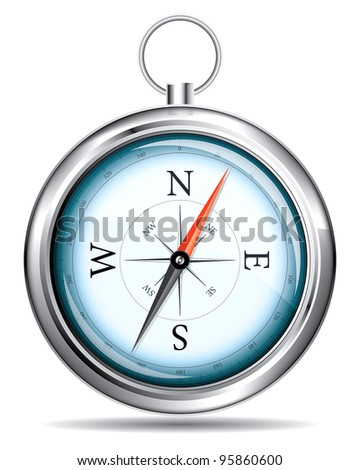 A realistic drawing of a compass on a white background - stock vector