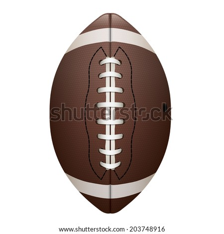 A realistic illustration of an American football on a white background. Vector EPS 10. EPS file contains transparencies. - stock vector