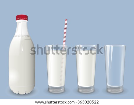 A realistic picture of the bottle of milk and a glass of milk. - stock vector