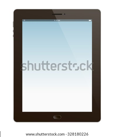 A realistic Tablet vector illustration. Saved in EPS 10 file with transparencies, NO effects and NO gradient mesh is used, just simple gradients. - stock vector