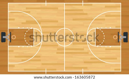 A realistic vector hardwood textured basketball court. EPS 10. File contains transparencies.