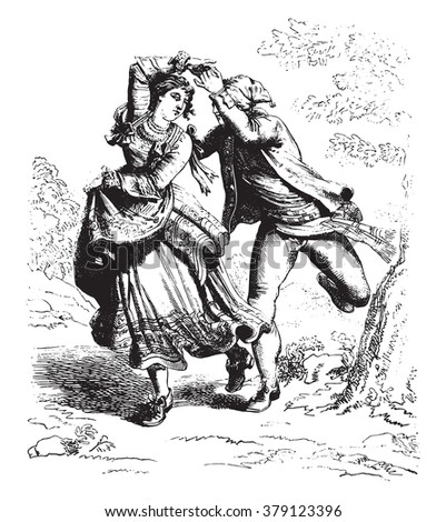 A reapers Dance in Abruzzo, by Bartolomeo Pinelli, vintage engraved illustration. Magasin Pittoresque 1876. - stock vector