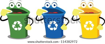 A recycling box points where to leave our waste. Every object is singly grouped - stock vector