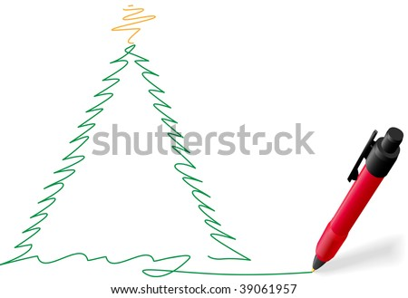A red ball point pen drawing or writing a Merry Christmas tree greeting green ink on white copyspace. - stock vector