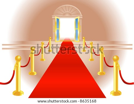A red carpet leading up to a lavish door to an exclusive venue - stock vector
