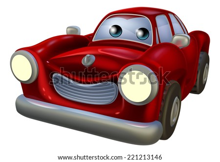 A red cartoon car mascot with a happy expression