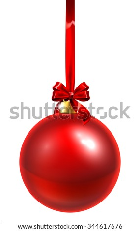 A red Christmas tree bauble decoration ornament with a red ribbon bow