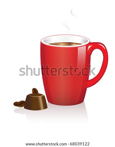 A red coffee mug with chocolate treat on white, EPS10 vector format with space for text. - stock vector