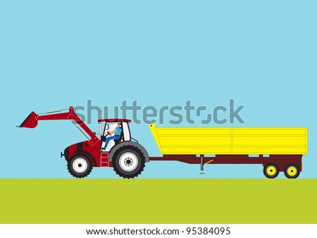 A Red Farm Tractor pulling a large Yellow Trailer