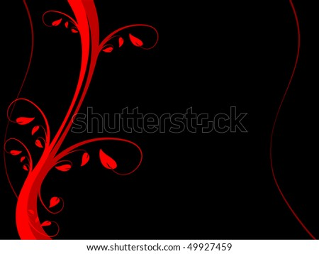 A red floral background  on a black background with room for text - stock vector
