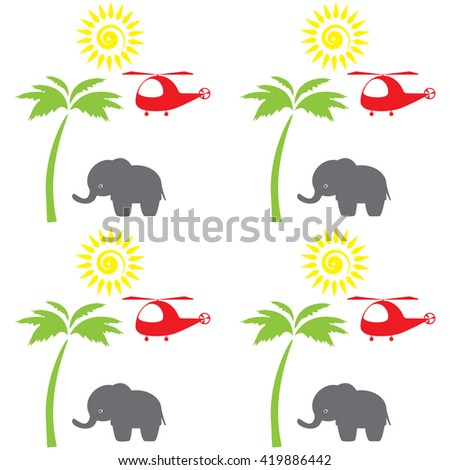 A red helicopter, palm tree, a sun, elephant for print. Cartoon cute elephant seamless pattern  Cute Elephant - Vector File Seamless background with cute  elements. In the children's style. - stock vector