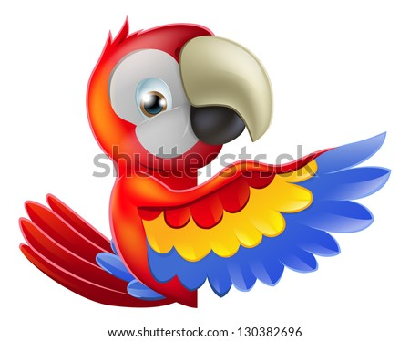 A red macaw parrot leaning round a sign or banner and pointing his wing at what is written on it - stock vector