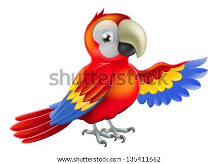 A red macaw parrot pointing or showing something with his wing