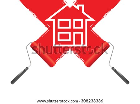 a red paint roller background - stock vector