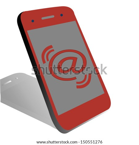 A red phone with an at in the screen
