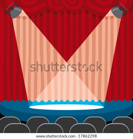 a red theatre curtain with light on the scene - stock vector