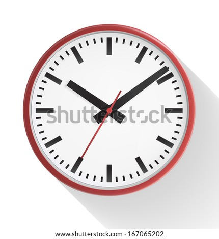 A red wall clock isolated on white background. Vector illustration. Realistic. Front view. - stock vector