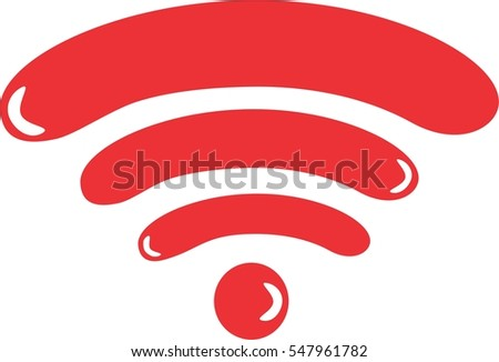 A red Wi-Fi symbol. Wireless signal icon with balloon/bubble like characteristics.