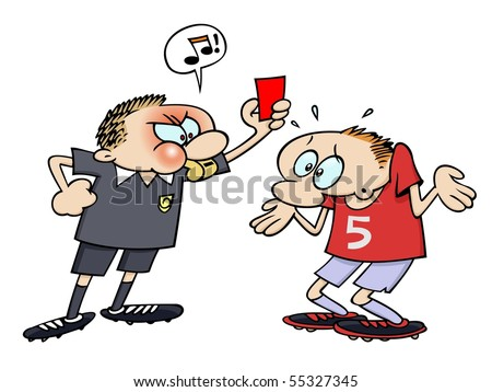 A referee blowing his whistle while showing a soccer player a red penalty card - stock vector