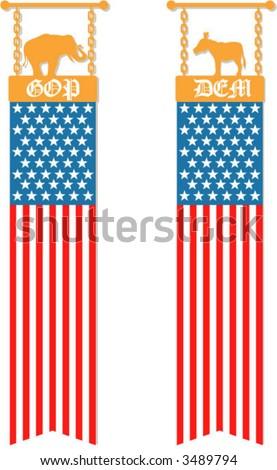 A Republican and Democrat American flag banner - stock vector