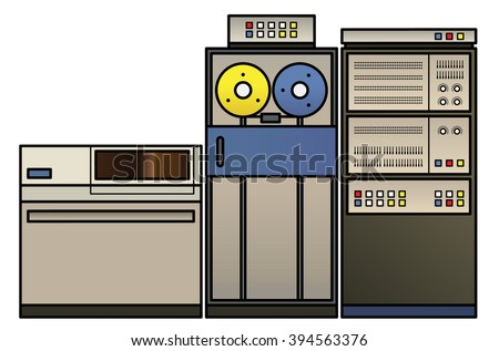 A retro mainframe computer setup with a processor cabinet, classic tape drives, and a fixed disk drive,  - stock vector