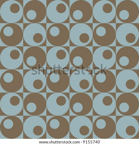 A retro, repeating vector pattern of circles in squares in blue and brown. - stock vector