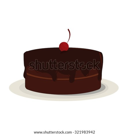 A rich, whole, chocolate cake covered in dark, dripping chocolate frosting, topped with a red cherry