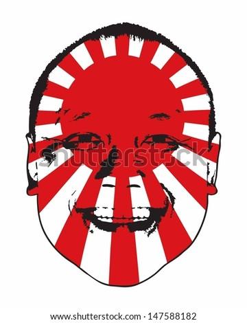 A rising sun Japan flag on a face, isolated against white.  - stock vector