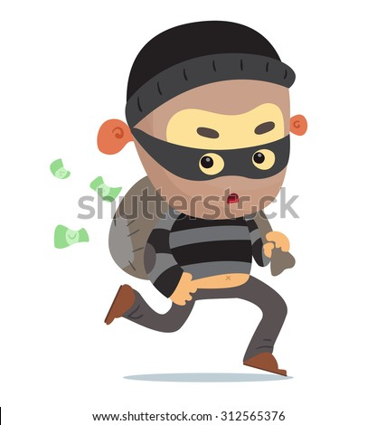 A robber running away - stock vector