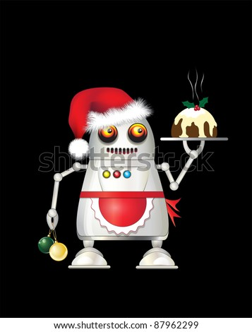 A robot dressed for Christmas and serving Christmas pudding. Isolated on black. EPS10 vector format. - stock vector