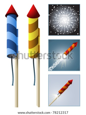A rocket in two styles with an animation sequence - stock vector