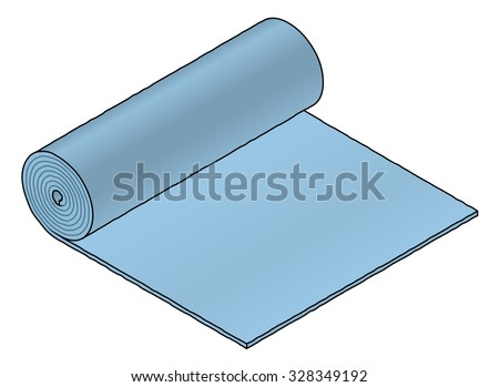 A roll of industrial material: blue foam sheet. - stock vector