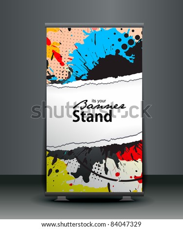 a roll-up display with stand banner template design, vector illustration. - stock vector