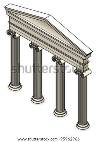 A Roman/Classical facade with four ionic columns.