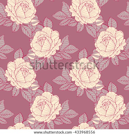 a romantic English style wallpaper seamless tile with ivory roses on a pink background