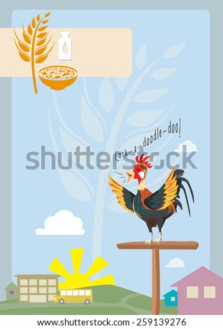 A Rooster Crows during Sunrise in the Village. With icons of breakfast cereal.  A New Morning concept design for cereal boxes, back to school, agriculture or more. Editable Vector EPS10 Illustration.  - stock vector