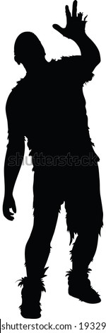A rotting silhouette zombie reaches and staggers. - stock vector