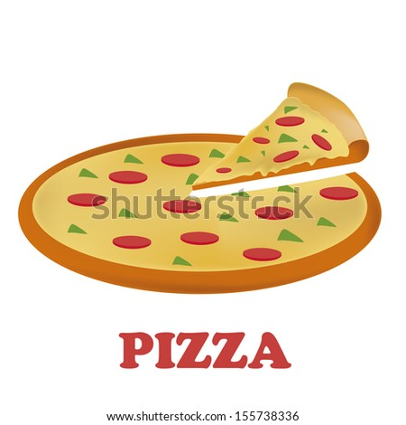 a round delicious pizza with pepperoni salami and pepper in white background - stock vector
