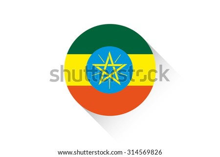 A Round flag with shadow of Ethiopia