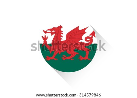 A Round flag with shadow of Wales - stock vector